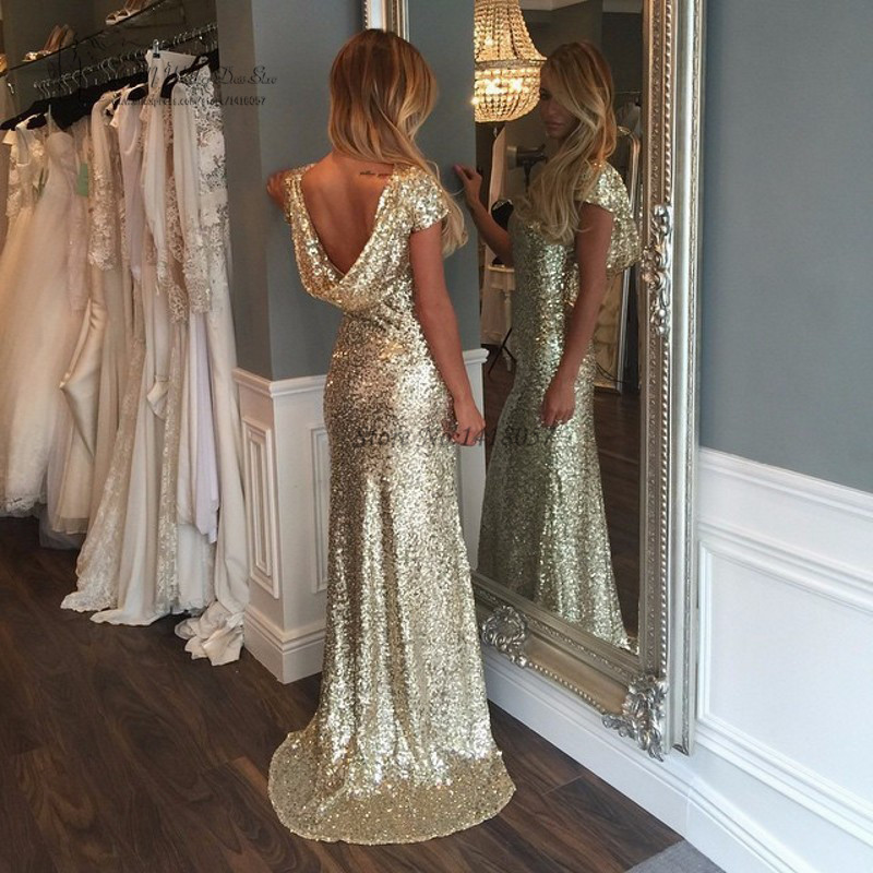 Cheap Gold Sequin Evening Gowns Backless African Mermaid Prom ...