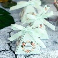 50 sztuk/partia Light Blue/Różowy/Fioletowy Kwiat Garland Ślub Cukierki Box Z Karty Wstążka DIY Specjalne Cukierków Prezent Box Zaopatrzenie Firm