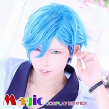 cosplay Aizome Kento cos B-project cosplay wig Light blue short hair Synthetic Hair wig