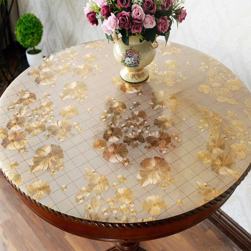 Custom round PVC waterproof transparent table mat Round dining table cloth gold colorTablecloth soft glass oilproof table cover