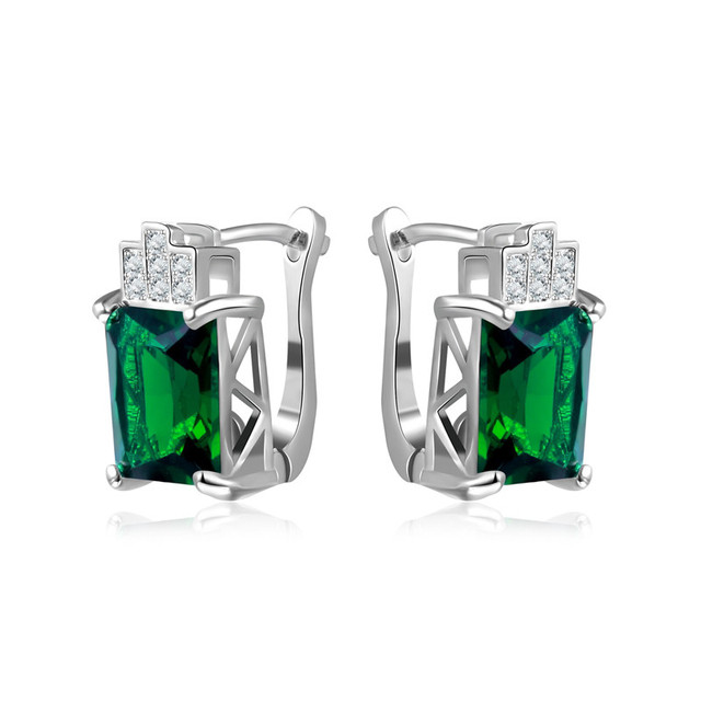I Zuan Fine Jewelry Clip Earrings For Women S925 Sterling Silver Earring Geometric Green Stone Wedding Boucle