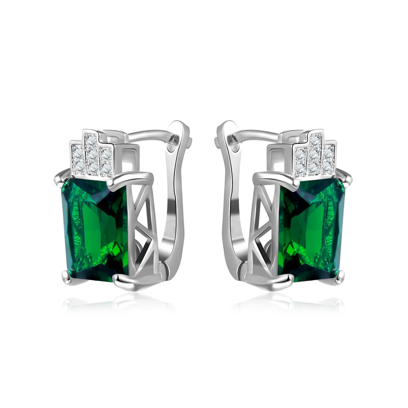 I&Zuan Fine Jewelry Clip Earrings For Women S925 Sterling Silver Earring Geometric Green Stone Wedding Boucle Doreille E175