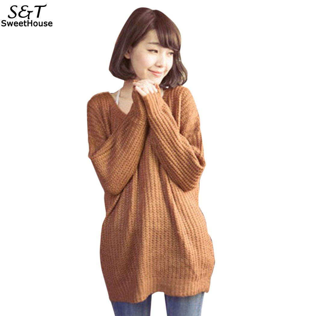 Pullovers Sweater Women Korean Solid Christmas Sweater Loose Round Neck Winter Autumn Long Knitted Sweaters pull femme Jumper