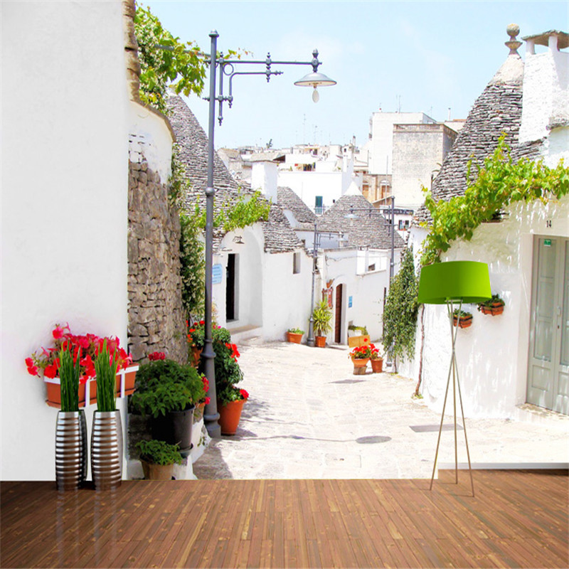 Custom 3d photo wallpaper greek aegean style architecture for Decoration maison aliexpress