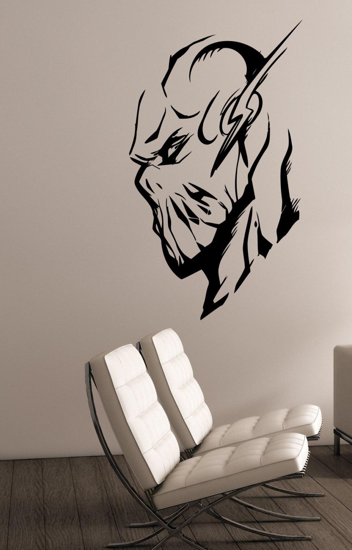 The Flash Superhero Head Wall Mural Cool Home Bedroom Decor Marvel Comics Wall Stickers Vinyl