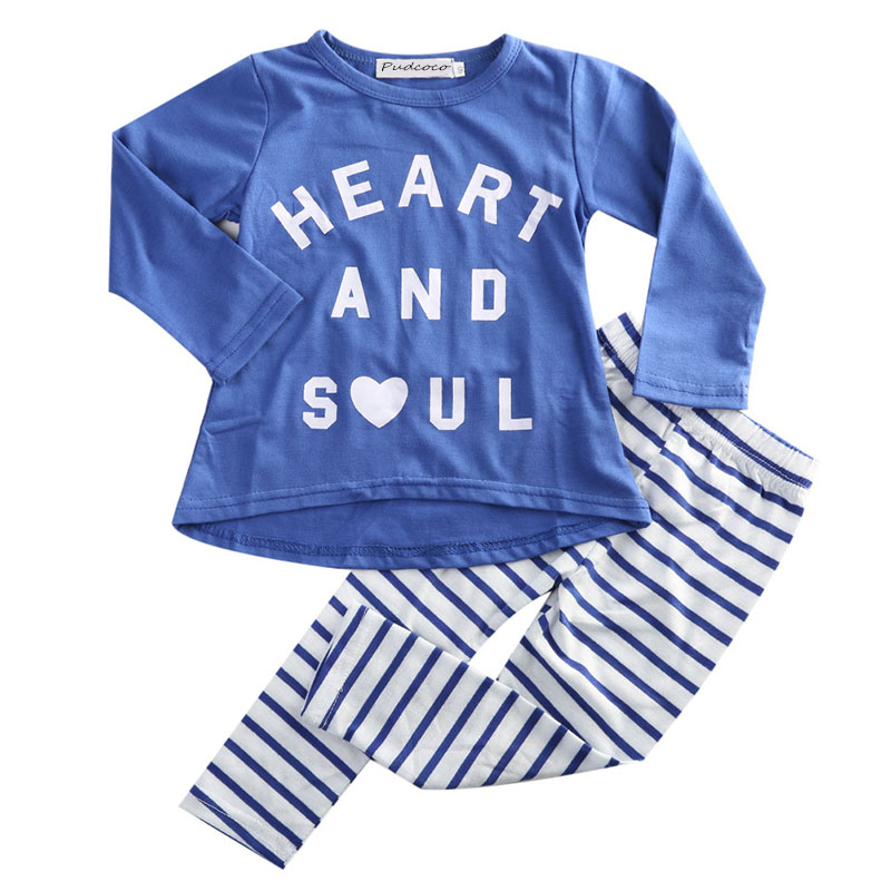 Fashion Kids Toddler Girls Clothing Baby Girls Long Sleeve Letters Shirt + Striped Leggings Pants Outfits Fall Winter Clothes