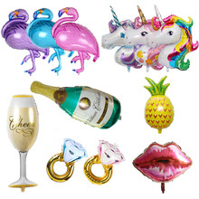 Hawaii Unicorn Party Flamingo Foil Balloons Stor Helium Air Ballon för Grattis på födelsedag Dekorationer Barn Vuxna Event Party Supplies