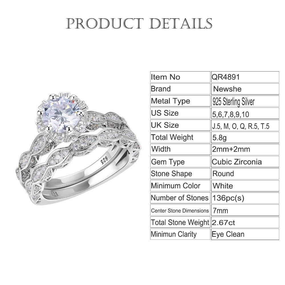 2.6Ct White Round Cut AAA CZ Vintage Wedding Ring Set