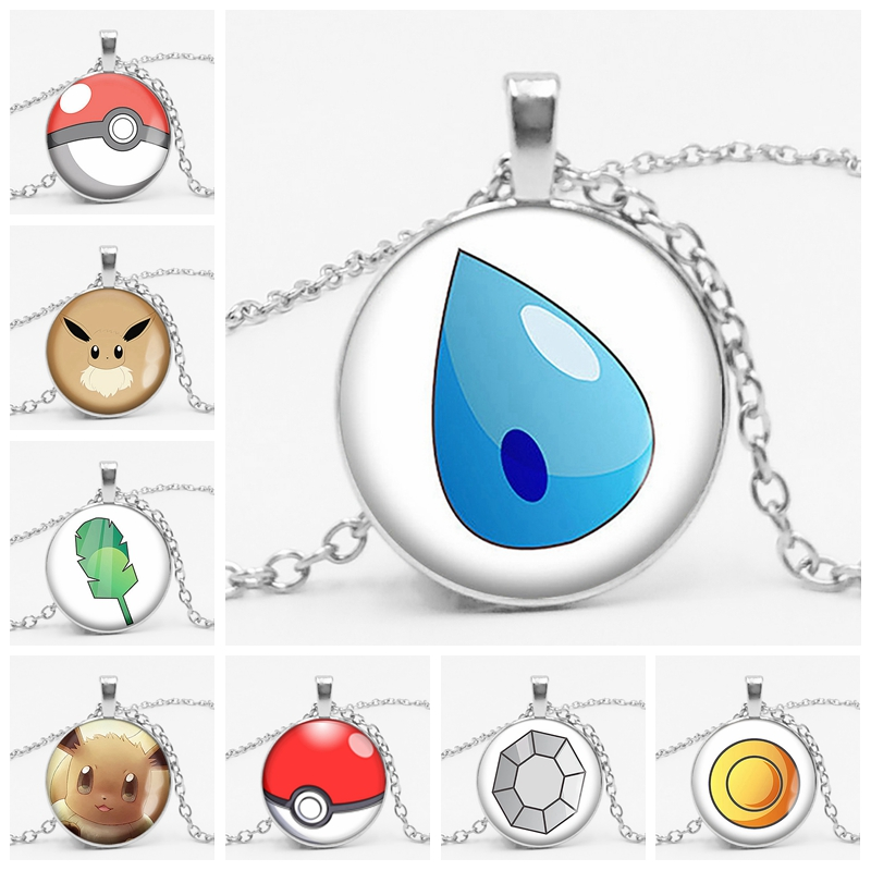 New Cartoon Anime Game Pikachu Pokemon Water Drop Shield Glass Convex Round Pendant Necklace Children Birthday Gift in Pendant Necklaces from Jewelry Accessories