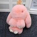 Conejo Real Rex Fur Llaveros Lindo Conejo Muñeca Cartera Llavero Pom Pom de Piel de Piel de Regalo de Navidad Colgante Del Encanto Del Coche Mejor Regalo K #1