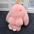 Real Rex Rabbit Fur Keychains Cute Doll Rabbit KeyChain Wallet Pom Pom Fur Pendant Car Charm Best Gift Fur Christmas Gift K#1