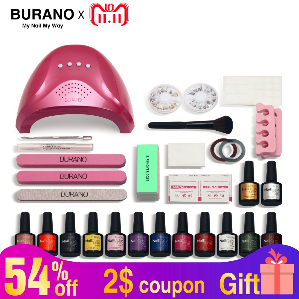 Burano 48w nail set gel polish led lamp nail dryer choose 12 colors uv gel polish nail art kit set uv gel polish manicure set burano uv led lamp
