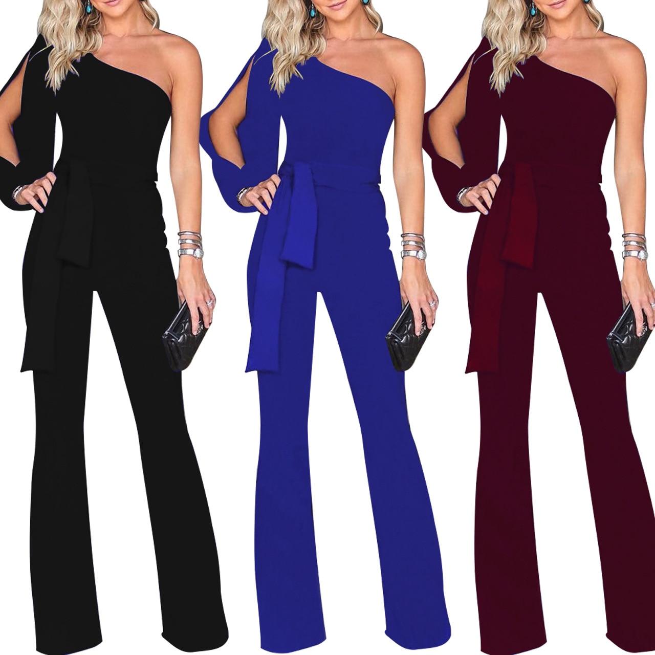 Women's trousers hot sale jumpsuit classic solid color oblique collar button one-piece wide-leg pants women