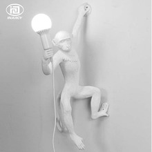 Vintage Resin Monkey Wall Lights Industrial Retro Edison Wall Lamp Bedrooms Hallways Verisimilar Monkey Decorate Lighting