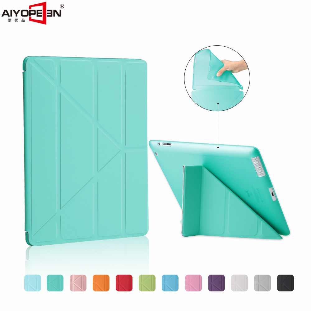 все цены на for ipad 2 3 4 case, aiyopeen pu leather smart wake up sleep matte transparent tpu back cover soft protect magnetic flip stand онлайн