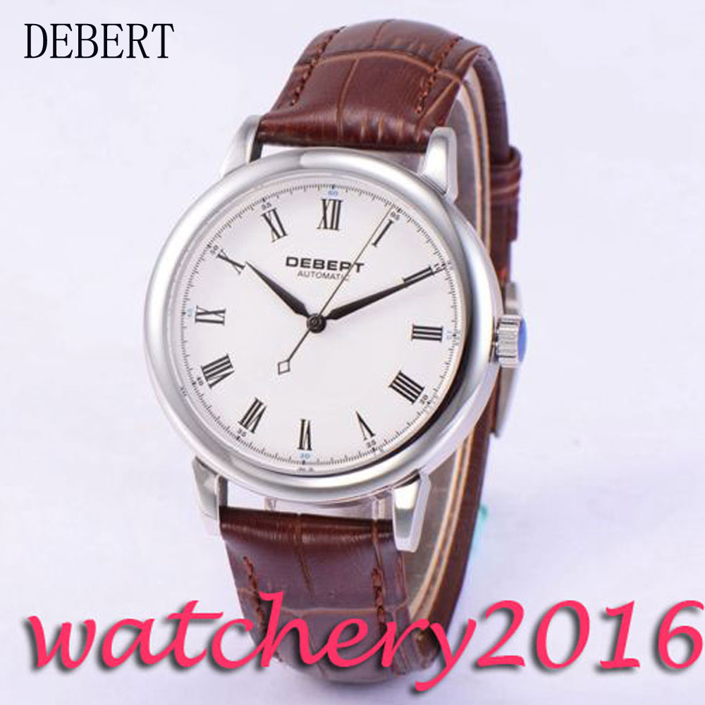Luxury 40mm Debert white dial Roman marks stainless steel case Automatic Mechanical Men's Watch ultra luxury 2 3 5 modes german motor watch winder white color wooden black pu leater inside automatic watch winder