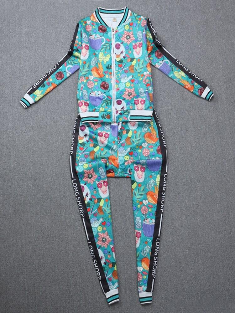 Costume pièce Automne Nouvelle Deux 2018 Élastique Casual Veste Top Côté Pantalon Ensemble Mode Bande Dessinée Glissière Européenne De Impression gEFwUwRq