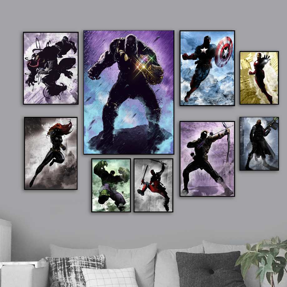 Deadpool venom iron man captain america thanos posters and prints wall art canvas painting wall pictures decor