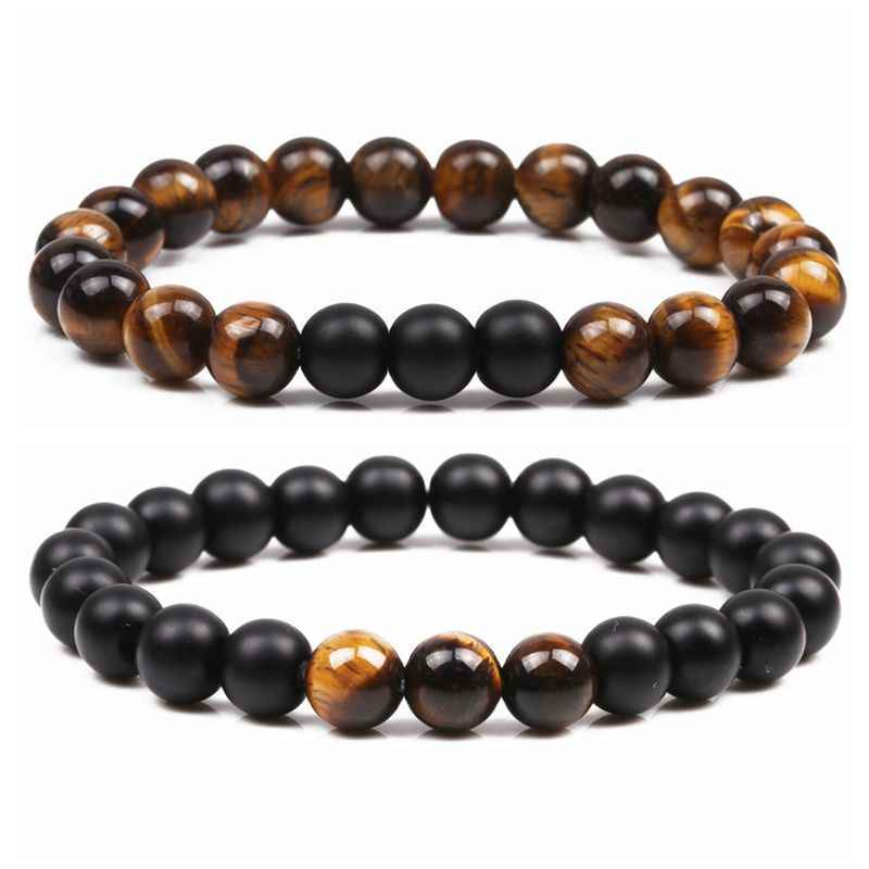 Fashion Couple Tiger Eye Beads Bracelet Men Jewelry Adjustable Natural Stone Beaded Bracelet For Women