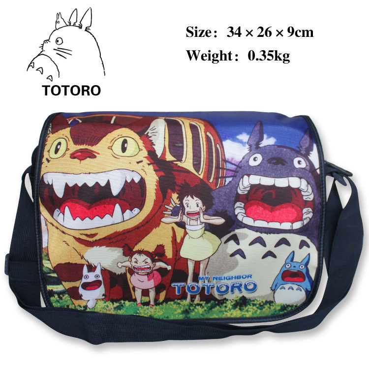 My neighbour Totoro polyester shoulder bag with colorful anime figures printings