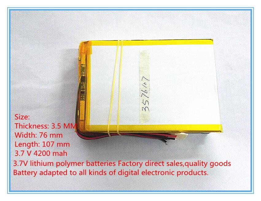 Digital Batterien Aktiv Liter Energie Batterie 3576107 3,7 V Polymer Batterie 4200 Mah Große-kapazität Tablet Laptop Mid 3575105 Ebook Durch Wissenschaftlichen Prozess Batterien