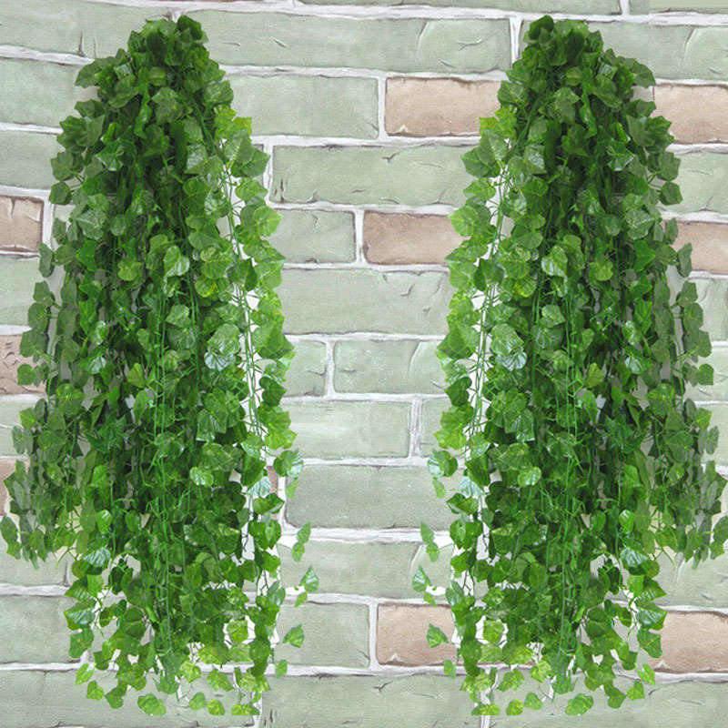 b2be3c6270739c 12pcs/lot Artificial Ivy Leaf Garland Fake Plants Vine Fake Foliage  Artificial Flowers Creeper Green