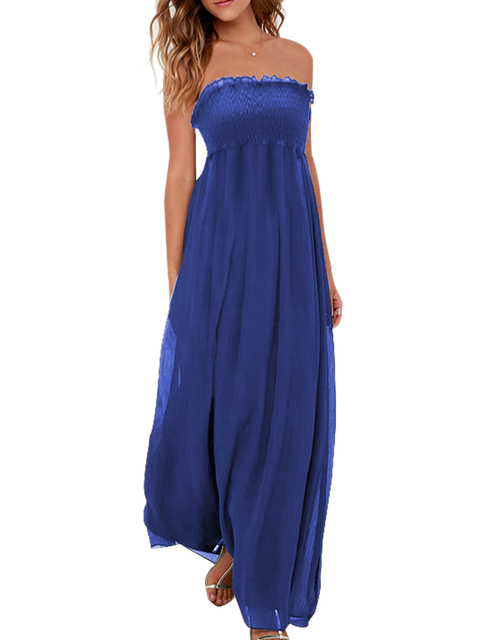 Strapless Tube Dress High Waist Vintage Long Maxi Dress Beach Loose Plus  Size Xxl 2017 Casual