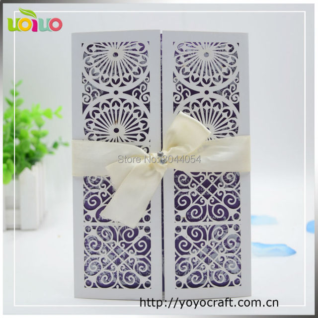 Hot Sell Laser Cut Wedding Invitation Card Matter In Marathi Gatefold  Handmade White Wedding Invitations Sample