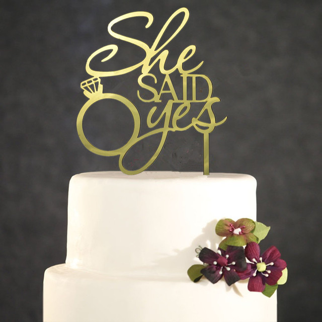 wedding cake topper yes or no she said yes mirror gold acrylic engagement ring wedding 26666