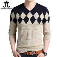 Кашемировый шерстяной свитер для мужчин, весна-осень 2019, облегающие пуловеры, мужские Рождественские свитера с v-образным вырезом и узором в...