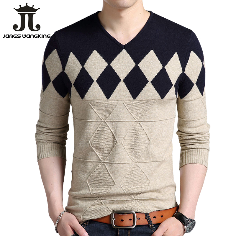 Cashmere Wool Sweater Men 2019 Spring Autumn Slim Fit Pullovers Men Argyle Pattern V-Neck Pull Homme Christmas Sweaters Fit Euro