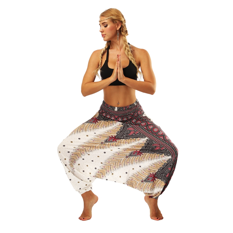 Women One Size Yoga Pants Bohemia Multicolor Geometric Print Long Yoga Pants Indian Loose Comfy Harem Trousers Wide Leg Pants in Yoga Pants from Sports Entertainment