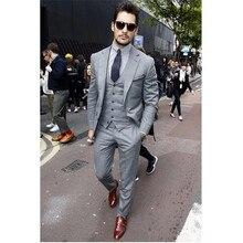 2017 Rushed Suits Custom Made Slim Fit Mens Tuxedos Light Grooms Business Men Suit With Pants Notch Lapel (jacket+pants+vest)