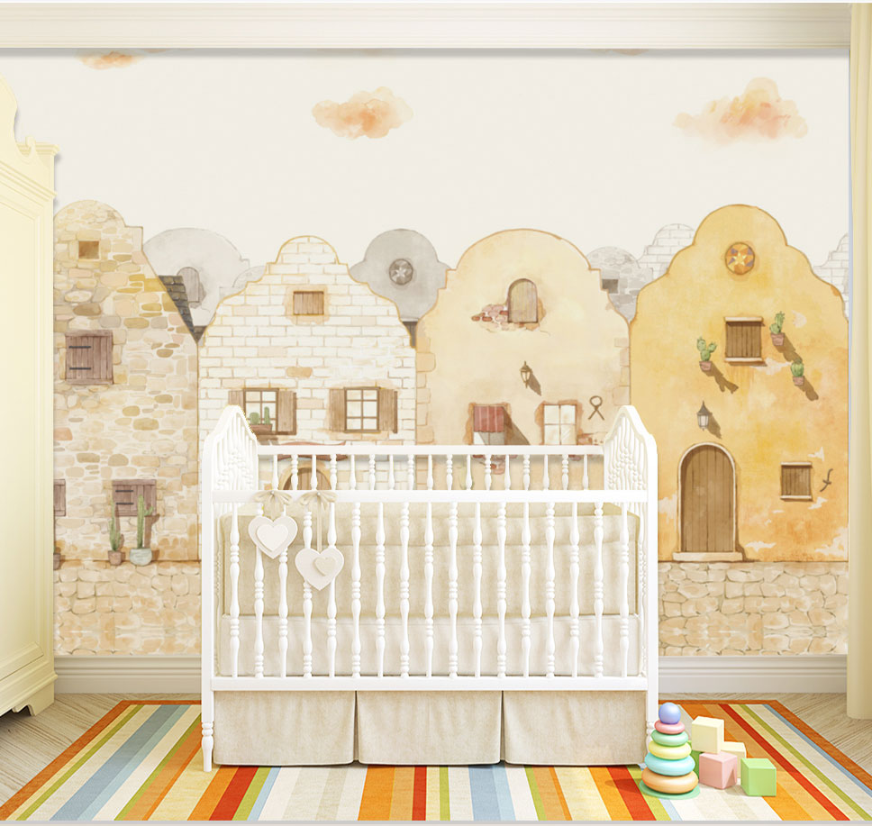 8D Large Hand-paint 3d Stone House Wallpaper Mural for Kids Baby Room 3d Photo Mural 3d Wall Mural 3D Bricks Wall paper lavender windmill natural landscape vintage 3d room photo wallpaper for 3d livingroom wall paper prints kids wall mural rolls
