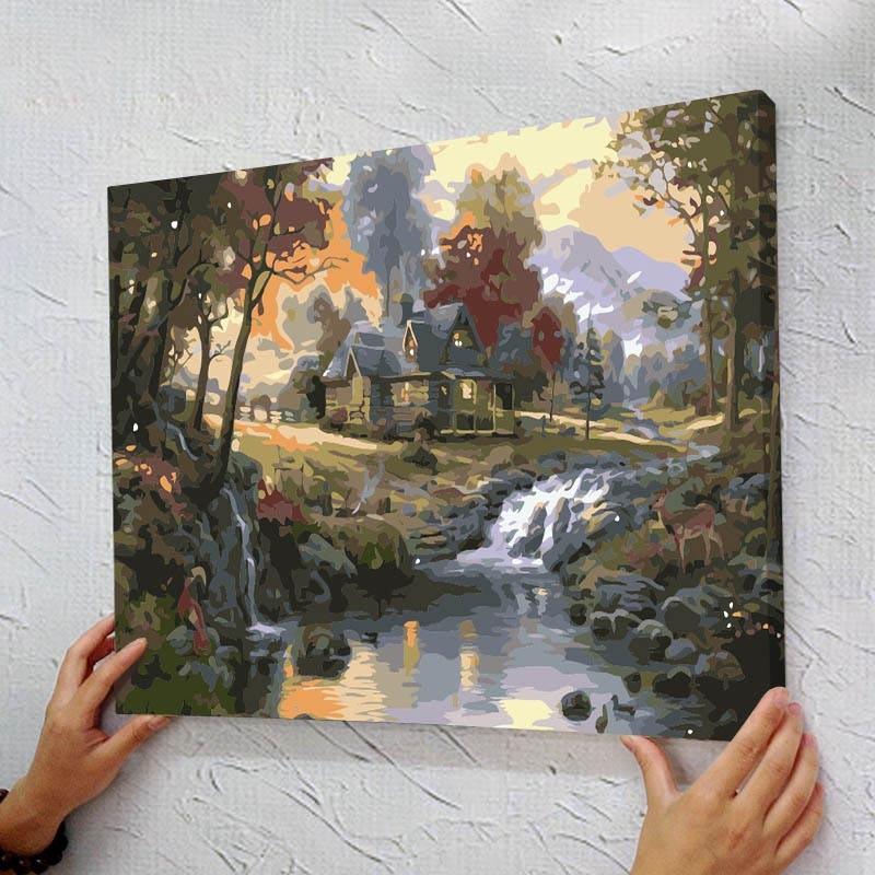Gerahmte Malen Nach Zahlen Foto DIY digitale malerei ölgemälde durch ...