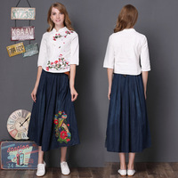 embroidery Vintage Belt high waist denim long skirts women jeans skirt spring summer pleated maxi skirts casual bottom saia