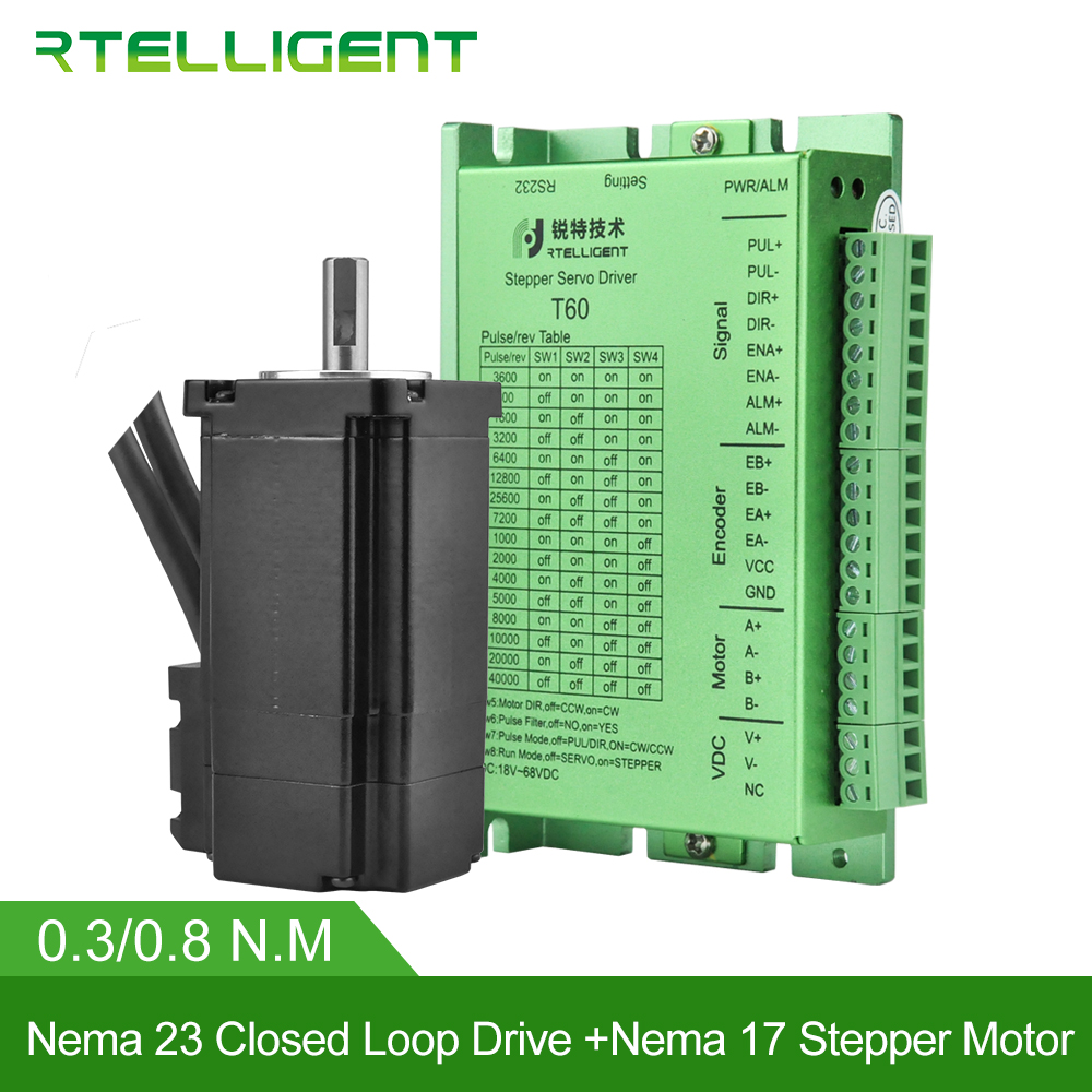 Rtelligent Factory Outlet Nema 17 Stepper Motor with Nema 23 24 Closed Loop Stepper Motor Driver Easy Servo Driver Stepper KitRtelligent Factory Outlet Nema 17 Stepper Motor with Nema 23 24 Closed Loop Stepper Motor Driver Easy Servo Driver Stepper Kit