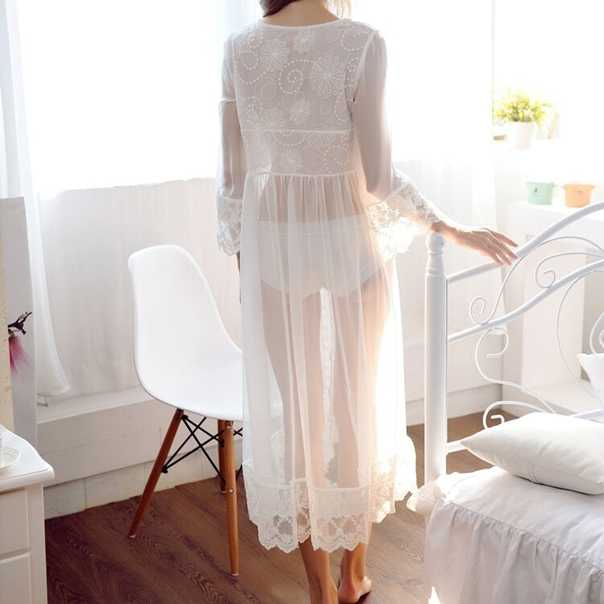 ... 2018 Nightgowns Maxi Lace Robe Sexy Sleepwear Long Bathrobe Women  Kimono Dressing Gown Nightgown Lingerie Camisola ... d8267dcd9