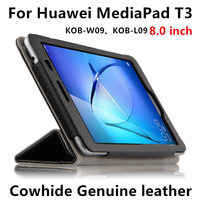 Case Cover Cowhide For Huawei MediaPad T3 Sleeve Honor Play Tablet 2 8 Protective Protector Genuine Leather KOB W09 KOB L09 8.0