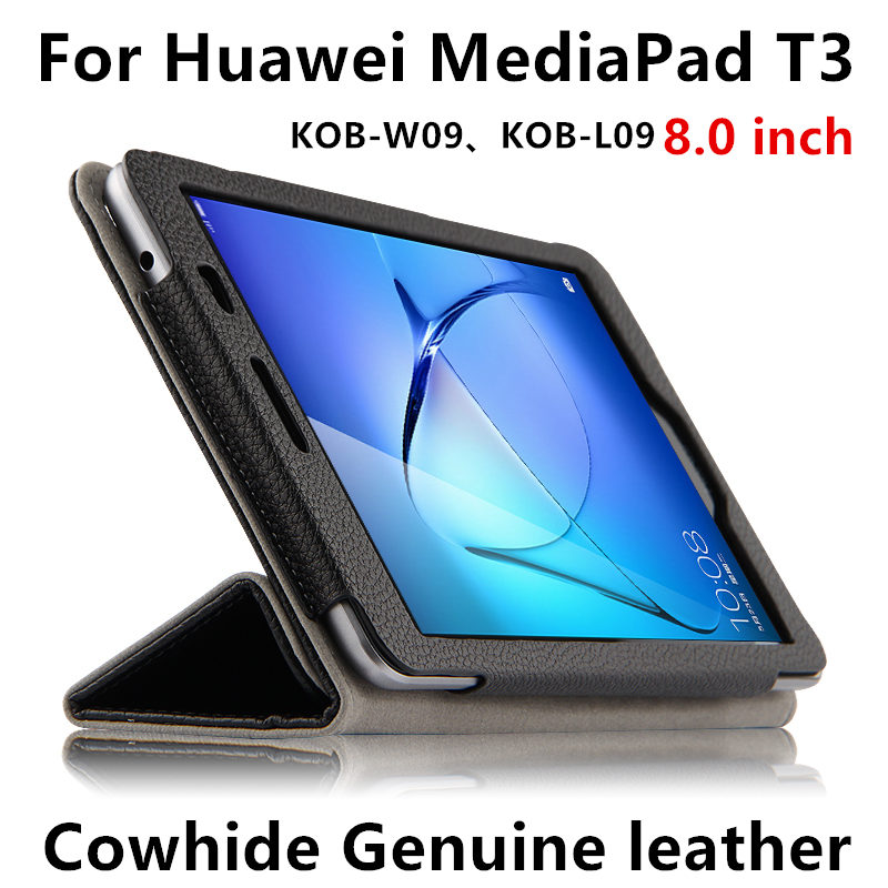 Case Cover Cowhide For Huawei MediaPad T3 Sleeve Honor Play Tablet 2 8 Protective Protector Genuine Leather KOB-W09 KOB-L09 8.0 for huawei mediapad t3 8 0 kob l09 kob w09 case ultra thin design case tpu silicone transparent matte cover honor juego pad 2 8