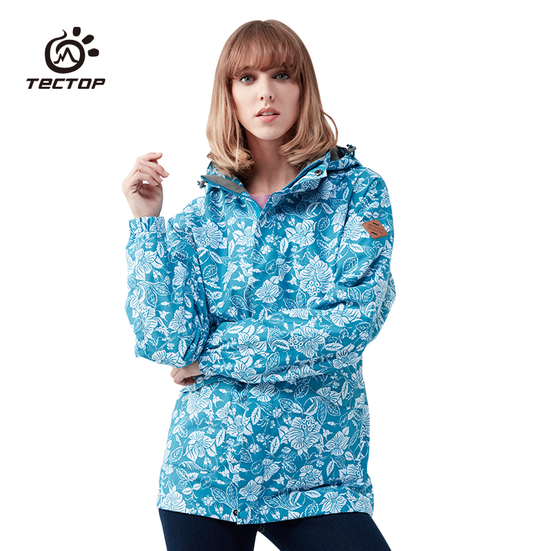 TECTOP Winter Women Outdoor Sports Hiking Climbing Skiing 3 in 1 Jackets Waterproof Windproof Thermal Camping Printing coats