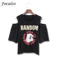 Focal20 Harajuku Letter Print Rivet Women T Shirt Summer Short Sleeve Off Shoulder Hip Hop T