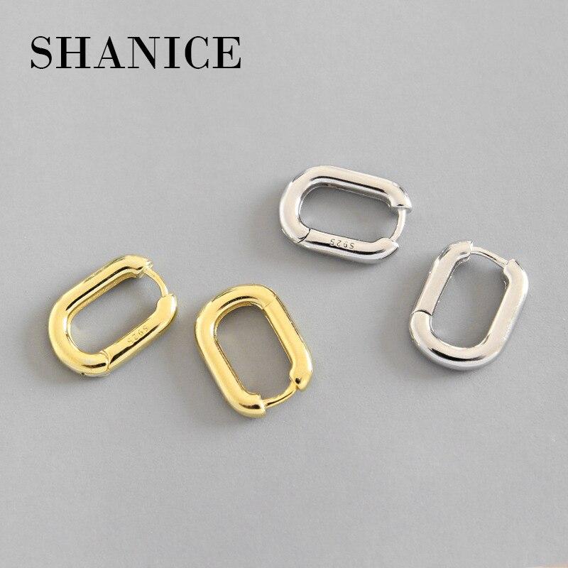 SHANICE Original Legal Do Punk 100% 925 Sterling Silver Retro Geométrica Oval Engagement Hoop Brincos para Mulheres Jóias de Luxo