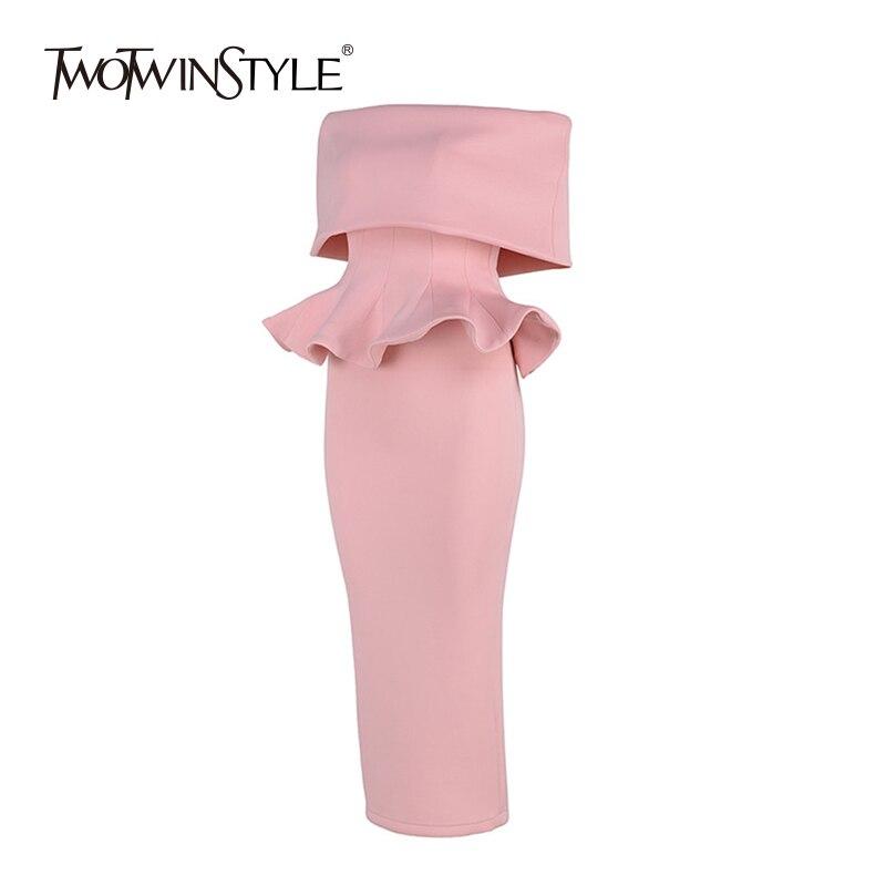 TWOTWINSTYLE Off Shoulder Party Suits Women Autumn Slash Neck Ruffles Hem Tunic Tops High Waist Bodycon Skirt Two Pieces Sets