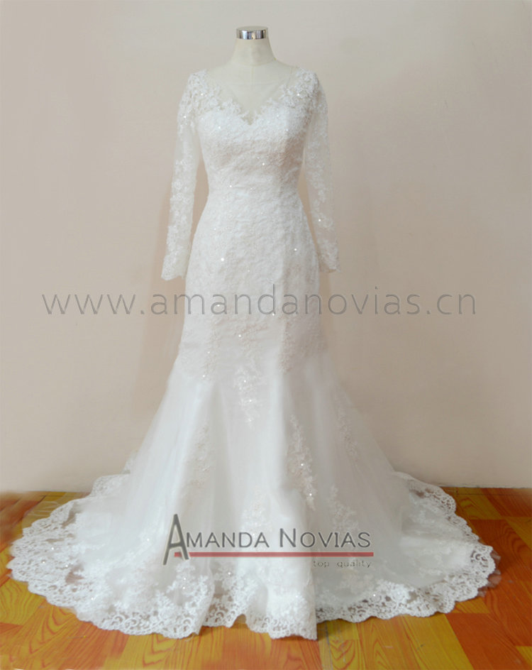 2018 Amanda Novias New Real Sample Long SLeeves Mermaid Vestido De noiva Wedding Dress Robe De Marage Vestidos wedding dresses