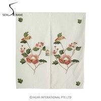 SewCrane Big Flowr And Bird Honeycomb Fabric Embroidery Design Home Restaurant Door Curtain Noren Doorway Room