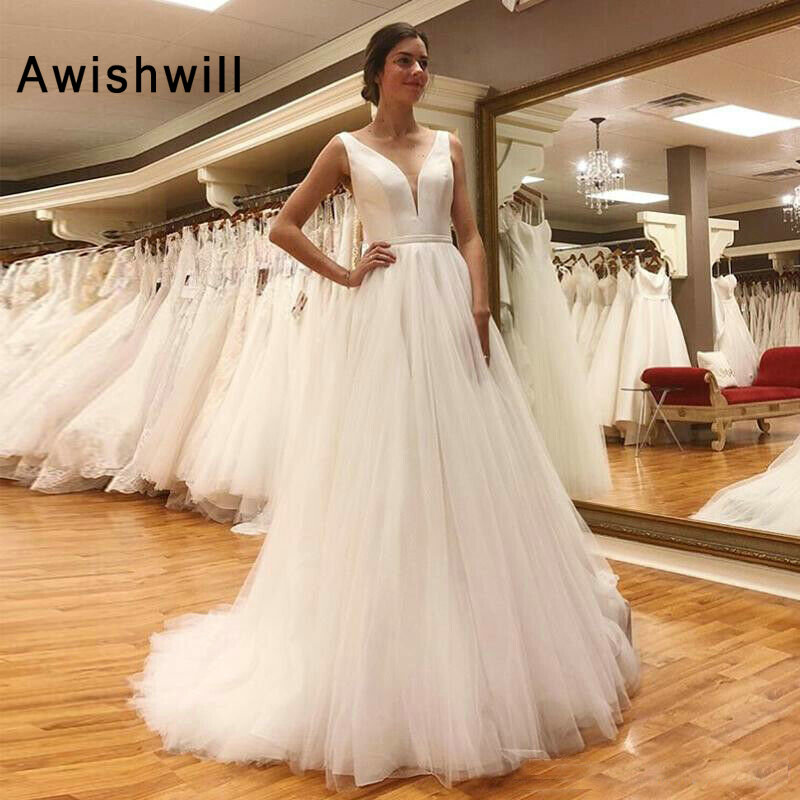 Trendy Boho Wedding Dress Sleeveless V-neck Tulle A-line Backless Wedding Gowns For Bride Robe De Mariee