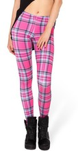EAST KNITTING BL-310 TARTAN PINK LEGGINGS 2014 fashion new women Digital print Pants Free shipping