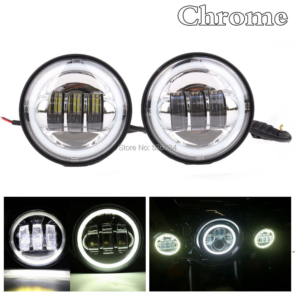 4 led lights mirror circle infinity mirror 7inch led round projector headlight with drl matching 45inch passing fog lights halofor harley davidson softail deluxein car light assembly from