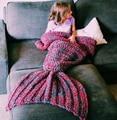 Шерсть вязаный хвост русалки одеяло ручной работы детей русалка одеяло бросок кровать обертывание супер мягкий детей пеленать спать одеяло постельное бельепокрывалоконверт для новорожденныходеяло для новорожденныхдетск
